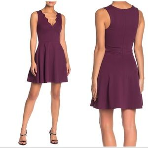 Scalloped V Neck Fit & Flare Mini Dress Medium